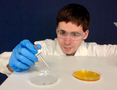 Bootcamp student performs a chemistry experiment