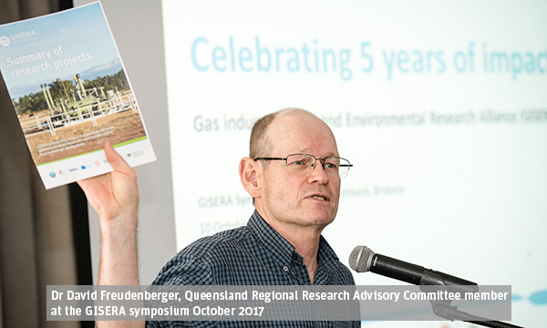 Dr David Freudenberger, Queensland Regional Research Advisory Committee member at the GISERA symposium October 2017