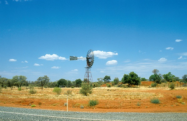 Windmill beside the Stuart Highway, north of Alice Springs in the Northern Territory