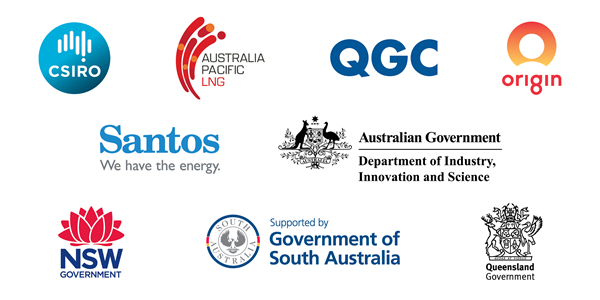 Logos of the GISERA partners icluding, CSIRO, Australia Pacific LNG, QGC, Santos, Origin, Department of Industry, Innovation and Science, and the New South Wales Government.