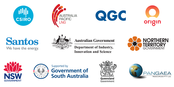 Logos of the GISERA partners - CSIRO; Australia Pacific LNG; QGC; Origin; Santos; Department of Industry, Innovation and Science; Northern Territory Government; New South Wales Government; Government of South Australia; Queensland Government; and Pangaea.