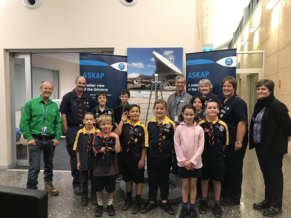Scientists and a scout group at the SKAP.