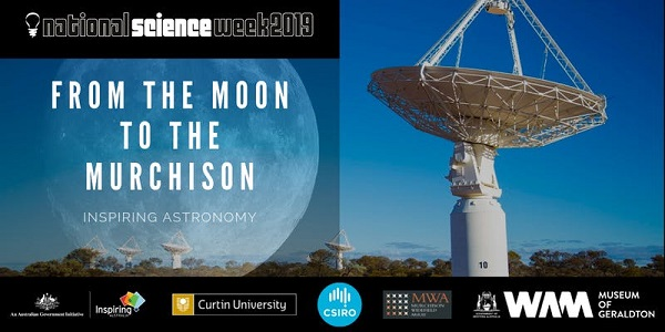 Split image showing a telescope on the right and a graphic of the moon with the words From the moon to the Murchison on the right.