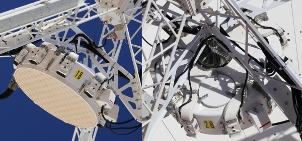 Close up view of parts of the radio telescope.