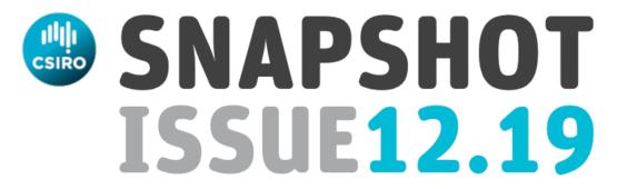 CSIRO logo and the words Snapshot issue 12.19