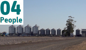 farm with silos in the background