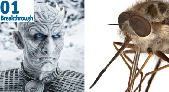 Game of Thrones' Night King with close up of newly named bee fly
