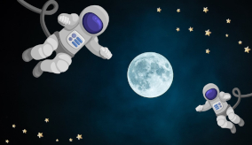 Image of the moon at night with cartoon astronauts floating around