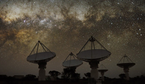 The ASKAP telescopes at night