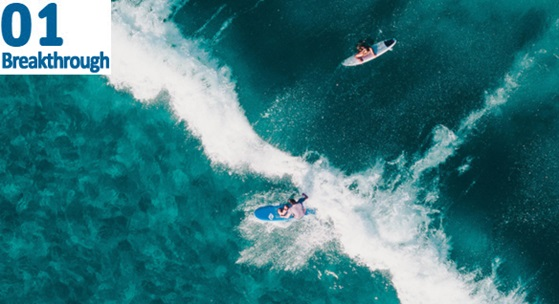 ariel view of surfers