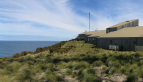 cape grim greenhouse gas measuring station in Tasmania with ocean in the background