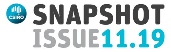 CSIRO logo and text reading Snapshot Issue 11.19