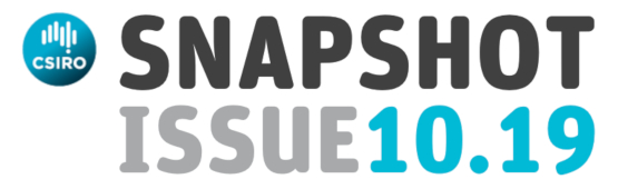 Newsletter banner with CSIRO logo and the words: Snapshot Issue 10.19